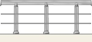 Handrail with two horizontal balusters