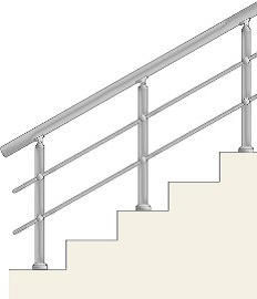Railing with 2 horizontal balusters with holders