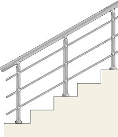 Railing with 3 horizontal balusters with holders