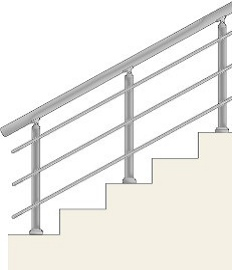 Railing with 3 horizontal balusters