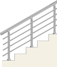 Railing with 4 horizontal balusters with holders