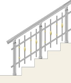 Railing with decorated vertical balusters
