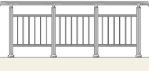 Railing with vertical balusters in tubes