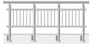Railing with vertical balusters in tubes installed sideways