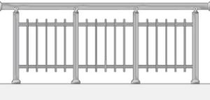 Railing with vertical balusters outside the tubes