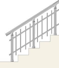 Railing with vertical balusters